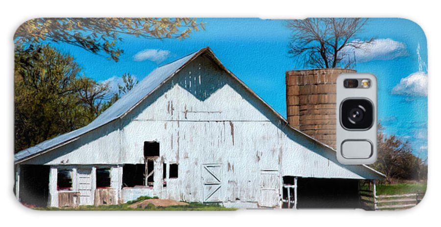 Barn Galaxy S8 Case featuring the photograph Old White Barn With Treed Silo by Anna Louise