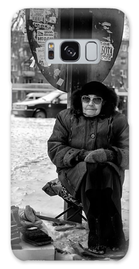 Selling Galaxy S8 Case featuring the photograph Old Women Selling Woollen Socks On The Street Monochrome by John Williams