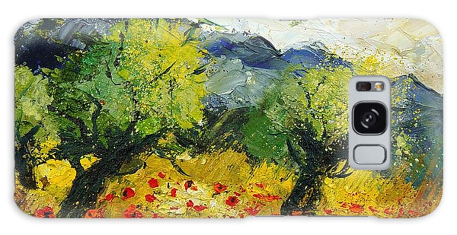 Flowers Galaxy S8 Case featuring the painting Olive Trees And Poppies by Pol Ledent