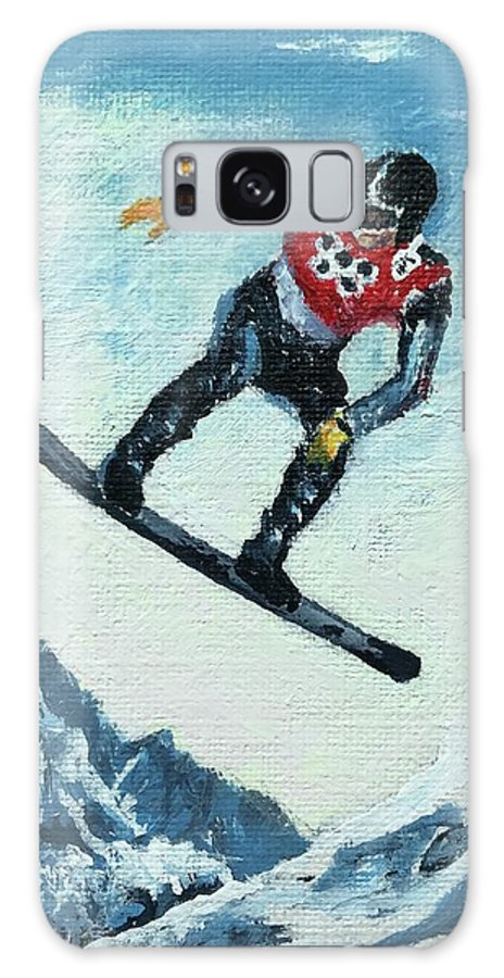 Black Galaxy S8 Case featuring the painting Olympic Snowboarder by ML McCormick
