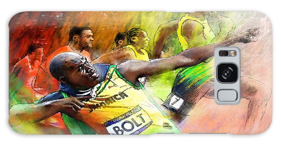 Sports Galaxy S8 Case featuring the painting Olympics 100 M Gold Medal Usain Bolt by Miki De Goodaboom