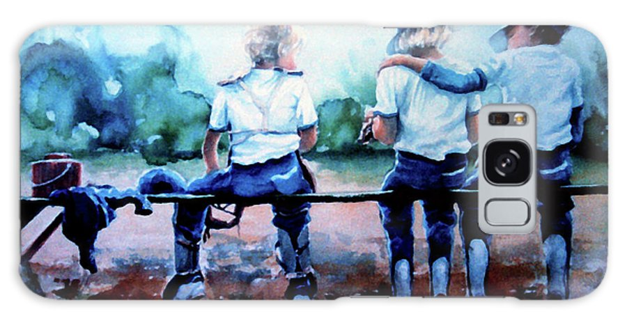 Boys Baseball Galaxy S8 Case featuring the painting On The Bench by Hanne Lore Koehler