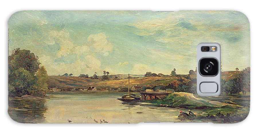 The Galaxy S8 Case featuring the painting On The Loire by Charles Francois Daubigny