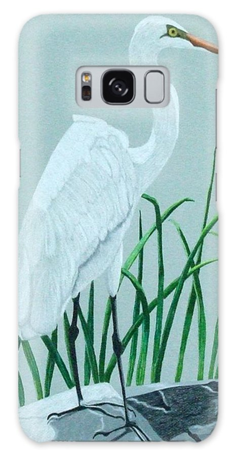 Egret Galaxy S8 Case featuring the painting On The Rocks by Anita Putman