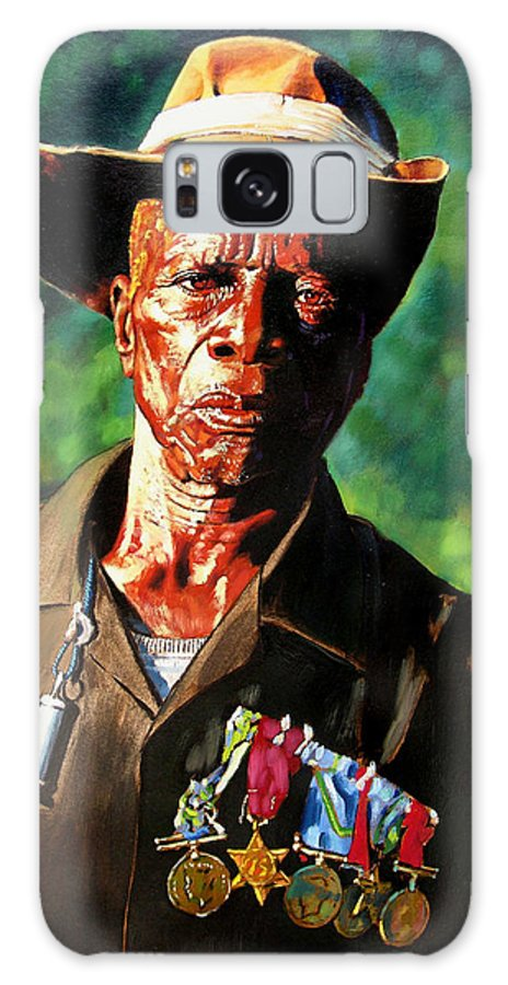 Black Soldier Galaxy Case featuring the painting One Armed Soldier by John Lautermilch
