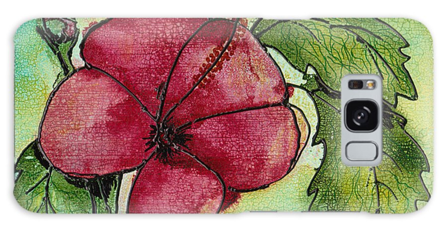 Flower Galaxy Case featuring the painting One Pink Hibiscus by Susan Kubes