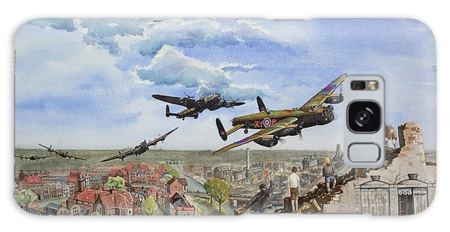 Lancaster Bomber Galaxy Case featuring the painting Operation Manna I by Gale Cochran-Smith