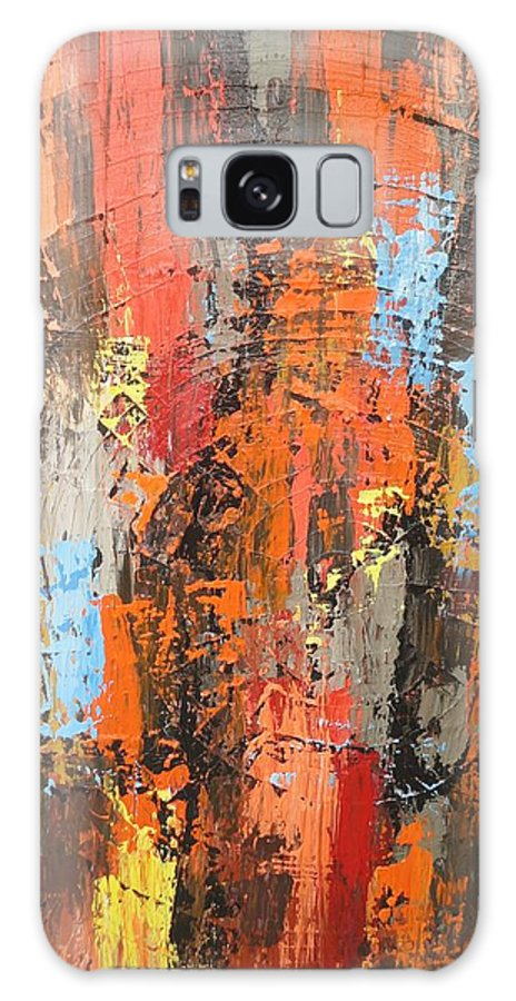 Abstract Galaxy S8 Case featuring the painting Orange Abstract by Elizabeth Langreiter