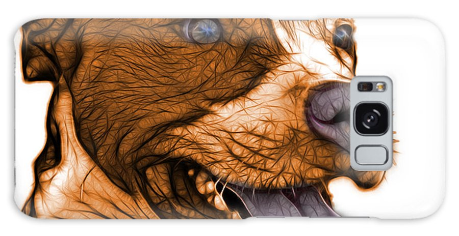 Pit Bull Galaxy S8 Case featuring the mixed media Orange Bull Fractal Pop Art - 7773 - F - Wb by James Ahn