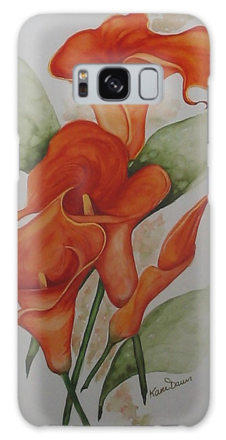 Floral Orange Lily Galaxy S8 Case featuring the painting Orange Callas by Karin Dawn Kelshall- Best