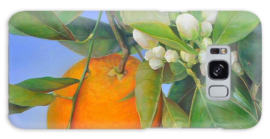 Floral Painting Galaxy Case featuring the painting Orange en Bouton by Muriel Dolemieux