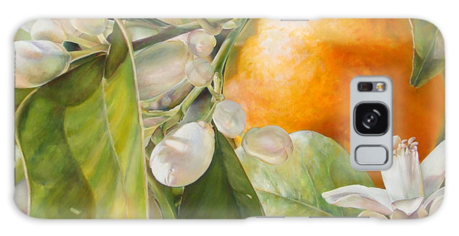Floral Painting Galaxy Case featuring the painting Orange fleurie by Dolemieux