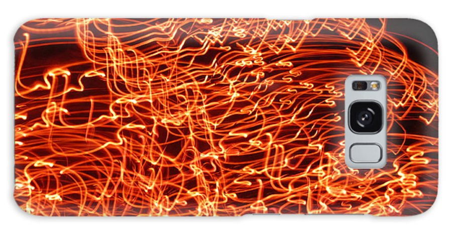 Flame Galaxy S8 Case featuring the photograph Orange Neon Flames by Cassandra Geernaert