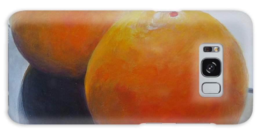 Acrylic Galaxy Case featuring the painting Orange Noir et Blanc by Muriel Dolemieux