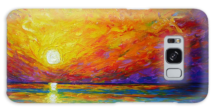 Landscape Galaxy S8 Case featuring the painting Orange Sunset by Ericka Herazo