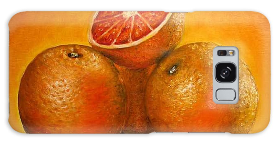 Oranges Galaxy Case featuring the painting Oranges Original Oil Painting by Natalja Picugina