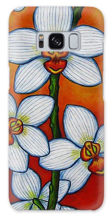 Orchids Galaxy Case featuring the painting Orchid Oasis by Lisa Lorenz