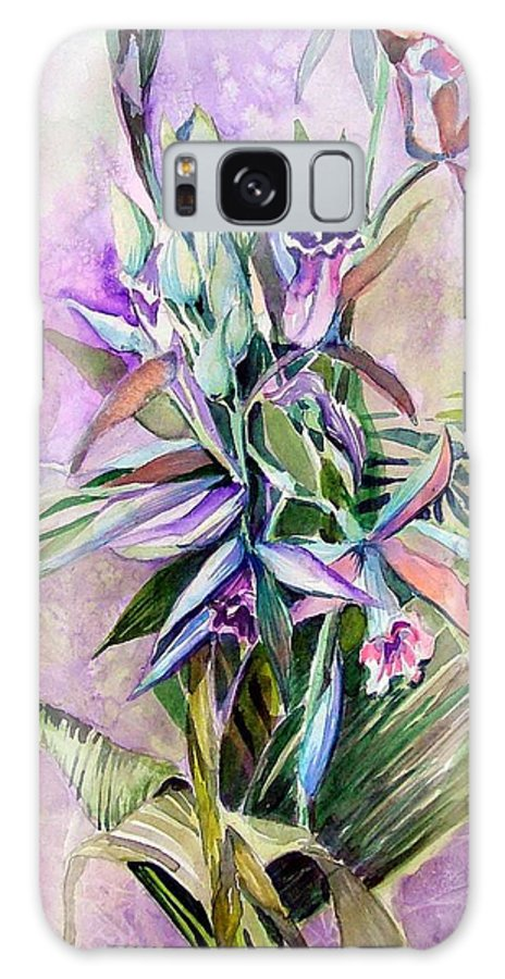 Orchids Galaxy S8 Case featuring the painting Orchids- Botanicals by Mindy Newman