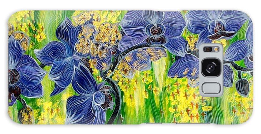 Inga Vereshchagina Galaxy S8 Case featuring the painting Orchids In A Gold Rain by Inga Vereshchagina