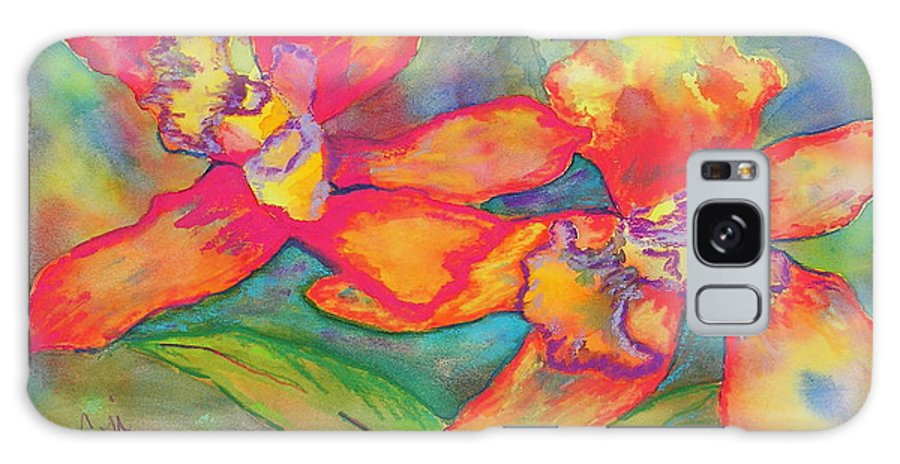 Flowers Galaxy Case featuring the painting Orchids In Paradise by Cori Solomon