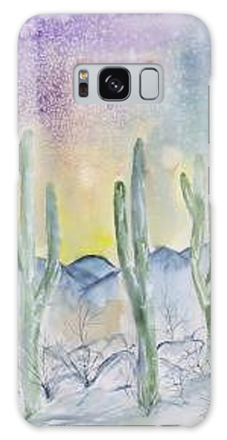 Impressionistic Galaxy S8 Case featuring the painting Organ Pipe Cactus desert southwestern painting poster print by Derek Mccrea
