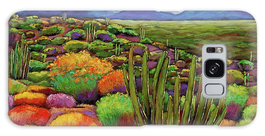 Desert Landscape Galaxy Case featuring the painting Organ Pipe by Johnathan Harris