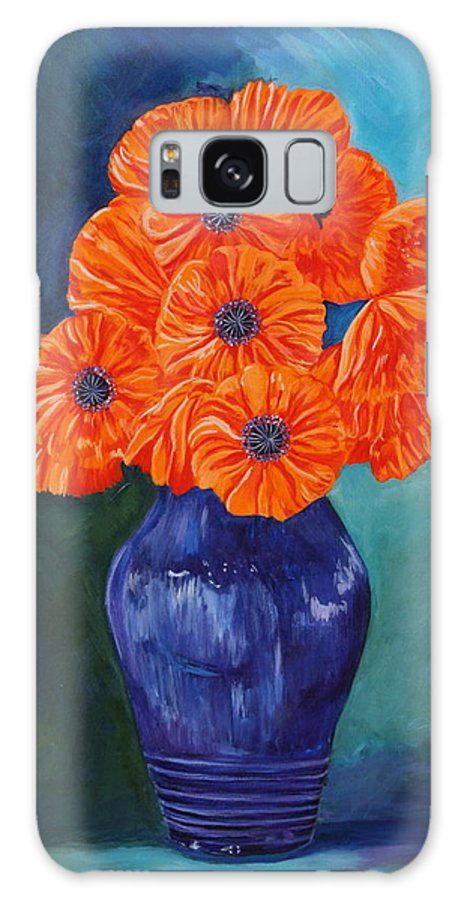Oriental Galaxy S8 Case featuring the painting Oriental Poppies In Blue by PJ Wetak
