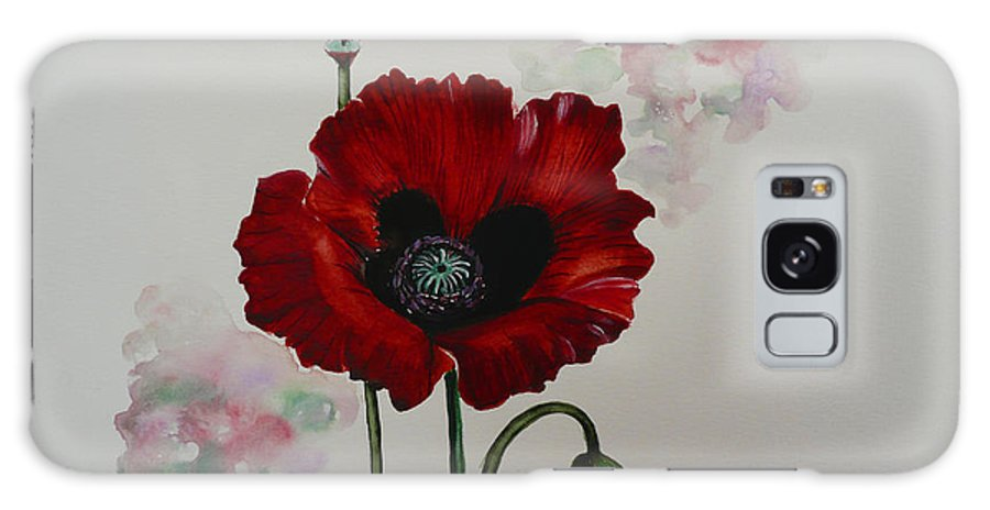 Floral Poppy Red Flower Galaxy Case featuring the painting Oriental Poppy by Karin Dawn Kelshall- Best