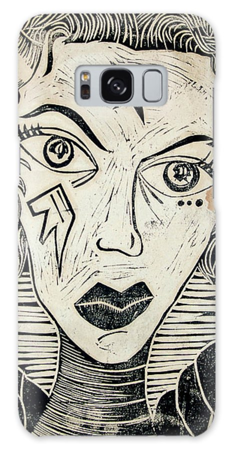 Block Print Galaxy S8 Case featuring the print Original Devil Block Print by Thomas Valentine