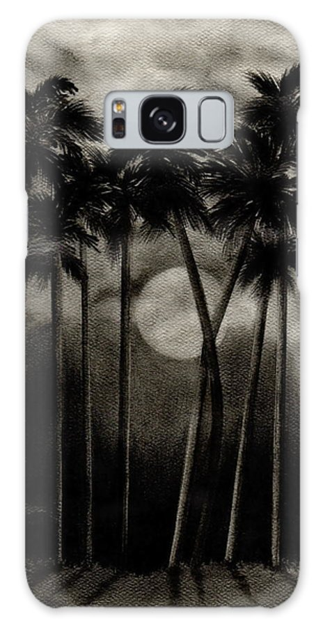 Original Moonlit Palm Trees Galaxy Case featuring the drawing Original Moonlit Palm Trees by Larry Lehman