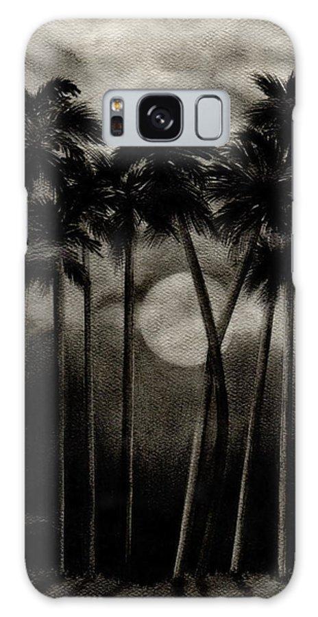 Original Moonlit Palm Trees Galaxy S8 Case featuring the drawing Original Moonlit Palm Trees by Larry Lehman