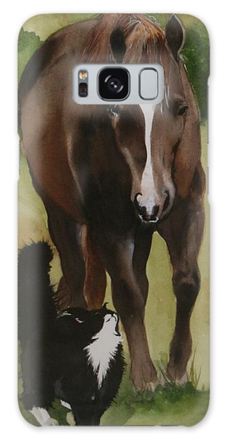 Horse Galaxy S8 Case featuring the painting Oscar And Friend by Jean Blackmer