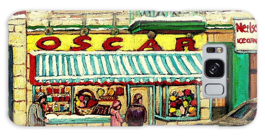 Oscar's Candy Store Montreal Galaxy S8 Case featuring the painting Oscar 's Candy Store Montreal by Carole Spandau