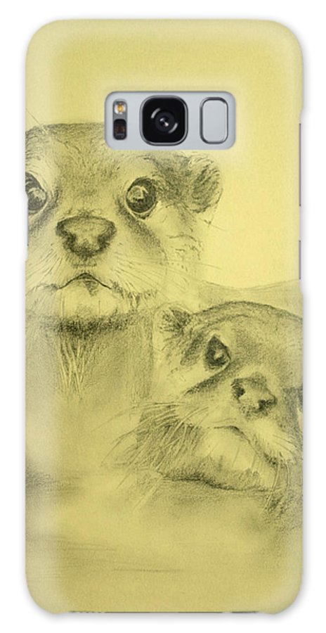 Lutrinae Galaxy S8 Case featuring the drawing Otters by Alan Pickersgill