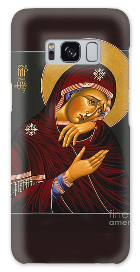Our Lady Of Sorrows Is Part Of The Triptych Of The Passion With Jesus Christ Extreme Humility And St. John The Apostle Galaxy S8 Case featuring the painting Our Lady Of Sorrows 028 by William Hart McNichols