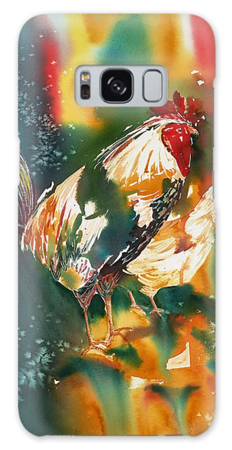 Rooster Galaxy S8 Case featuring the painting Our Neighbors Roosters by Tara Moorman