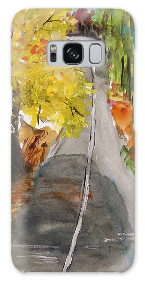 Trees Galaxy S8 Case featuring the painting Our Road With Yellow Maple by John Williams