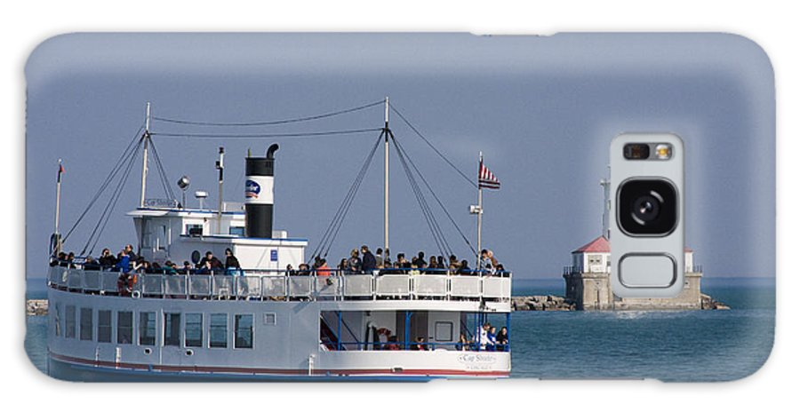 Boat Tour Tourism Tourist Attraction Chicago Windy City Ride Lighthouse Lake Michigan Water Sky Wake Galaxy S8 Case featuring the photograph Out For A Ride by Andrei Shliakhau