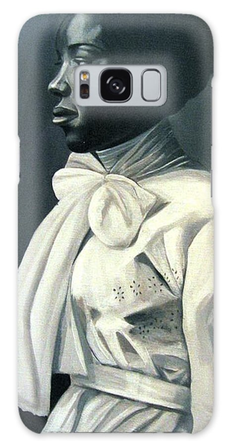 Portrait Galaxy Case featuring the painting Out Of The Box Woman In Large White Bow by Joyce Owens
