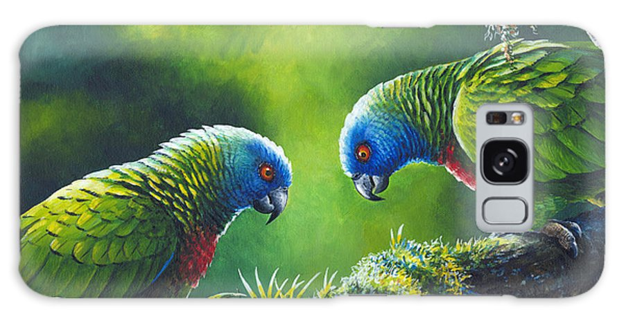 Chris Cox Galaxy S8 Case featuring the painting Out On A Limb - St. Lucia Parrots by Christopher Cox