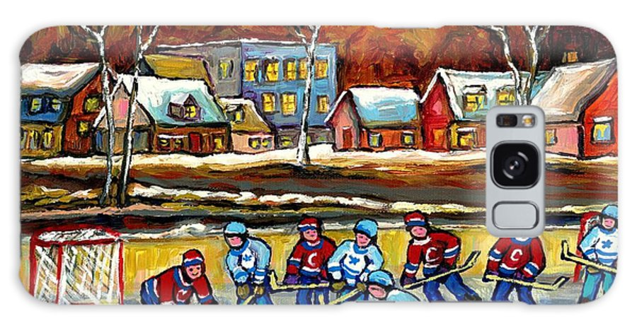 Country Hockey Rink Galaxy S8 Case featuring the painting Outdoor Hockey Rink by Carole Spandau