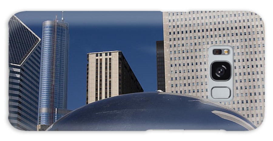 Chicago Windy City Wind Blue Sky Art Bean Building Skyscraper Tall High Big Large Reflection Galaxy S8 Case featuring the photograph Over The Bean by Andrei Shliakhau