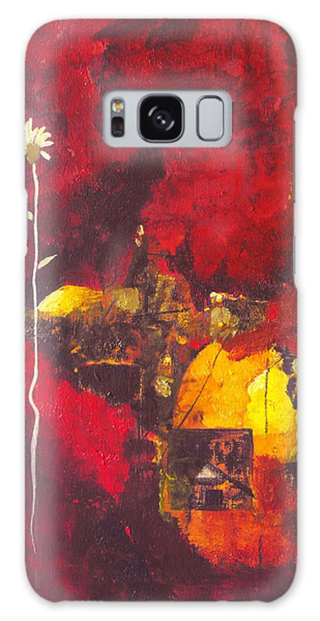Abstract Galaxy Case featuring the painting Over The Broken Fence by Ruth Palmer