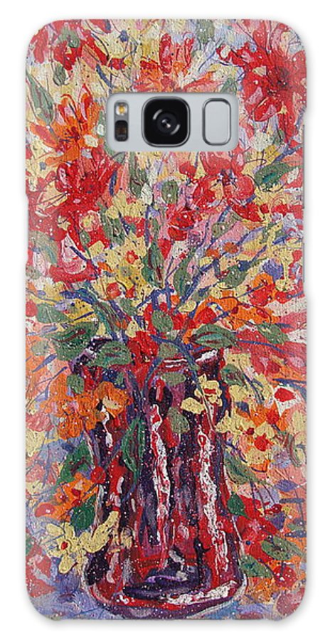 Painting Galaxy Case featuring the painting Overflowing Flowers. by Leonard Holland