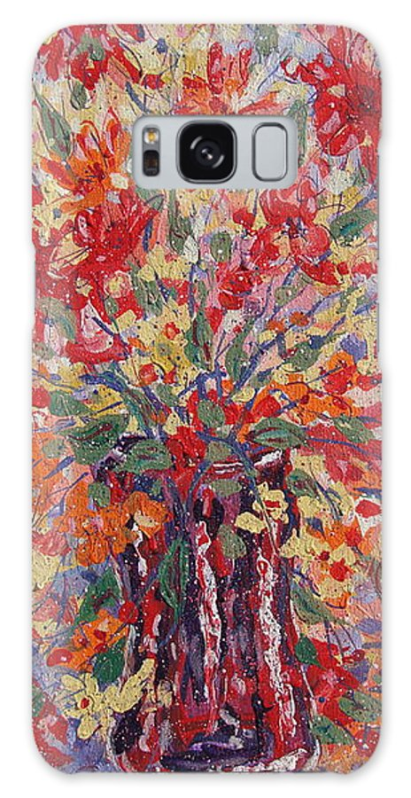 Painting Galaxy S8 Case featuring the painting Overflowing Flowers. by Leonard Holland