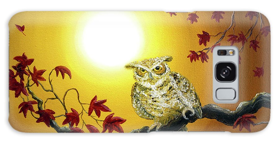 Zen Galaxy S8 Case featuring the painting Owl In Autumn Glow by Laura Iverson