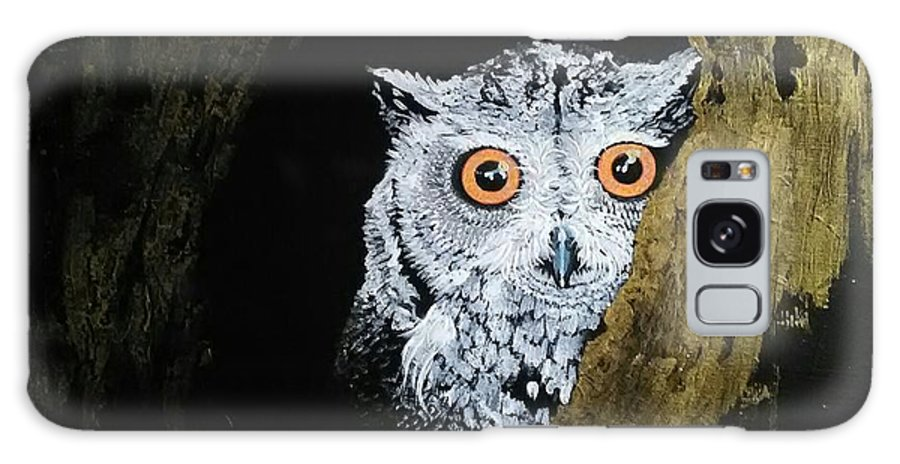Laura Hillyer Galaxy S8 Case featuring the painting Owl In Tree by Laura Hillyer