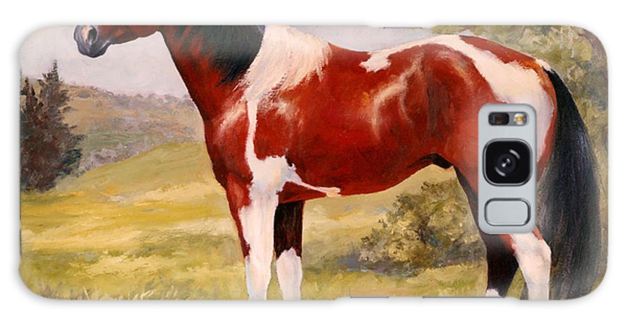 Paint Galaxy S8 Case featuring the painting Paint Horse Gelding Portrait Oil Painting - Gizmo by Kim Corpany