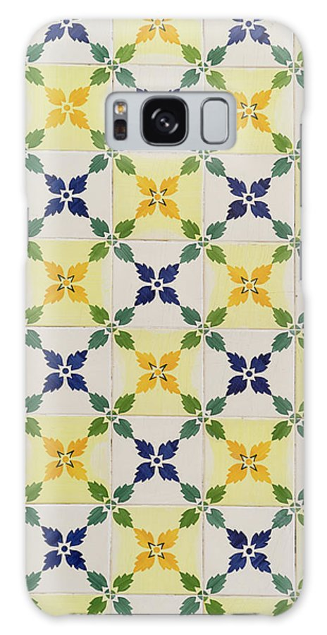 Georgia Mizuleva Galaxy S8 Case featuring the photograph Painted Patterns - Floral Azulejo Tiles In Blue Green And Yellow by Georgia Mizuleva