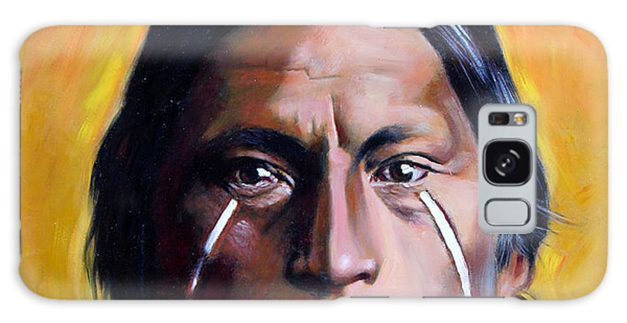 American Indian Galaxy S8 Case featuring the painting Painted Tears by John Lautermilch